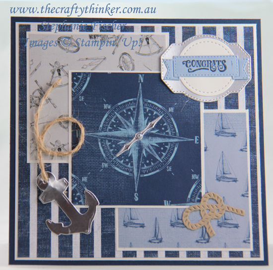 #thecraftythinker #stampinup #sailinghomebundle #masculinecard #cardmaking , Come Sail Away, Sailing Home, Smooth Sailing, Masculine Card, Stampin' Up Australia Demonstrator, Stephanie Fischer, Sydney NSW