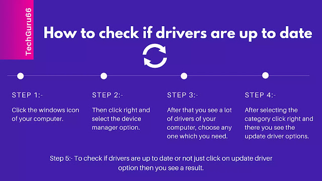 Step 1:- Click the windows icon of your computer. Step 2:- Then click right  and select the device manager option. Step 3:- After that you see a lot of drivers of your computer, choose any one which you need. Step 4:- After selecting the category click right and there you see the update driver options. Step 5:- To check if drivers are up to date or not just click on update driver option then you see a result.