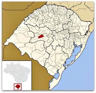Cidade de São Pedro do Sul no mapa do Rio Grande do Sul