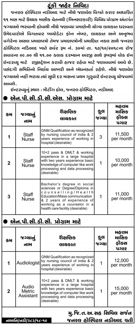Nadiad General Hospital Recruitment 2018  Staff Nurse, Audiologist & Audio Metric Assistant Posts