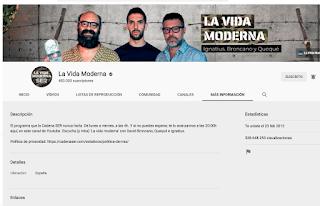 """Visitas acumuladas del canal """"La Vida Moderna"""""""