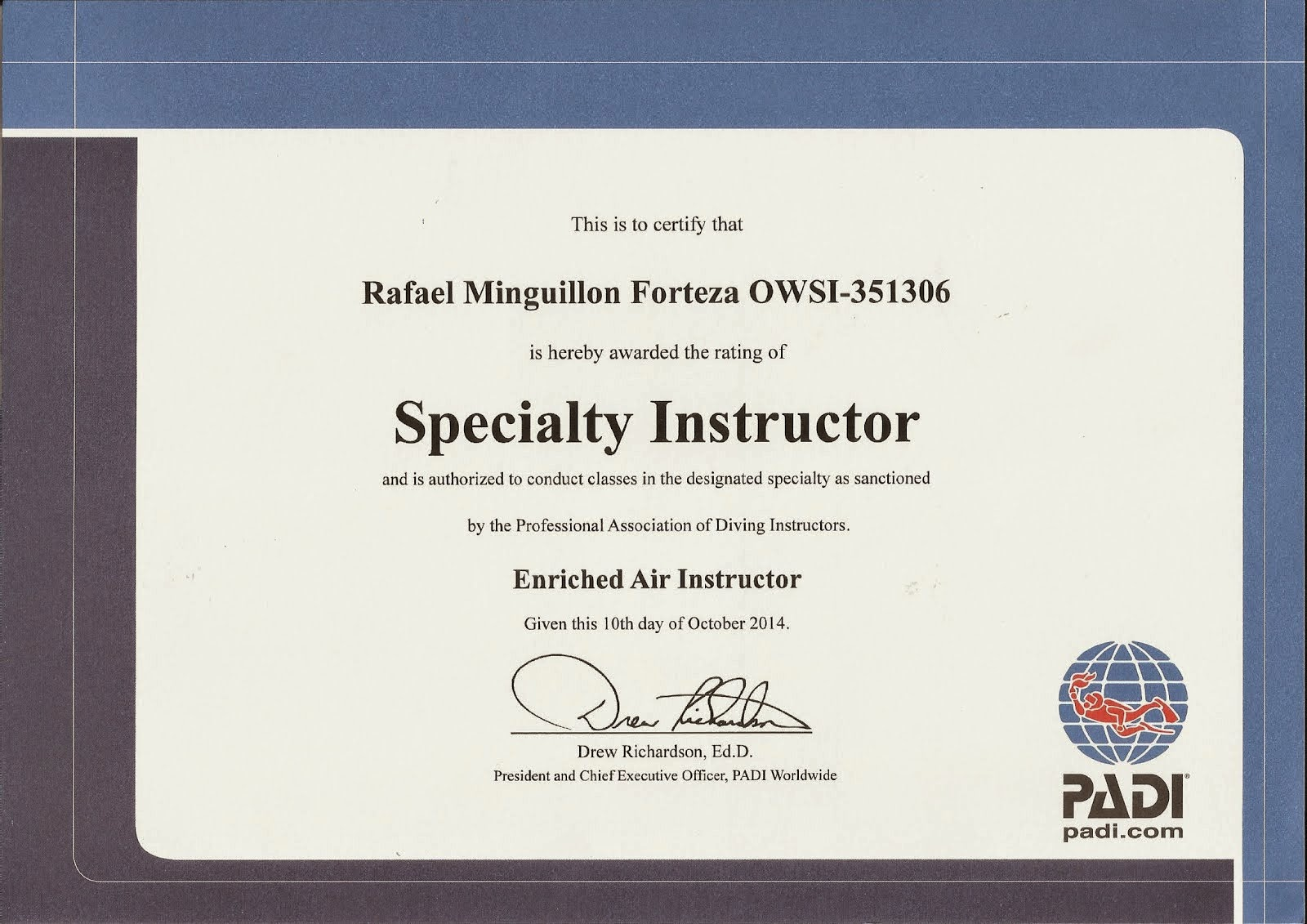 Specialty Instructor Enriched Air Instructor