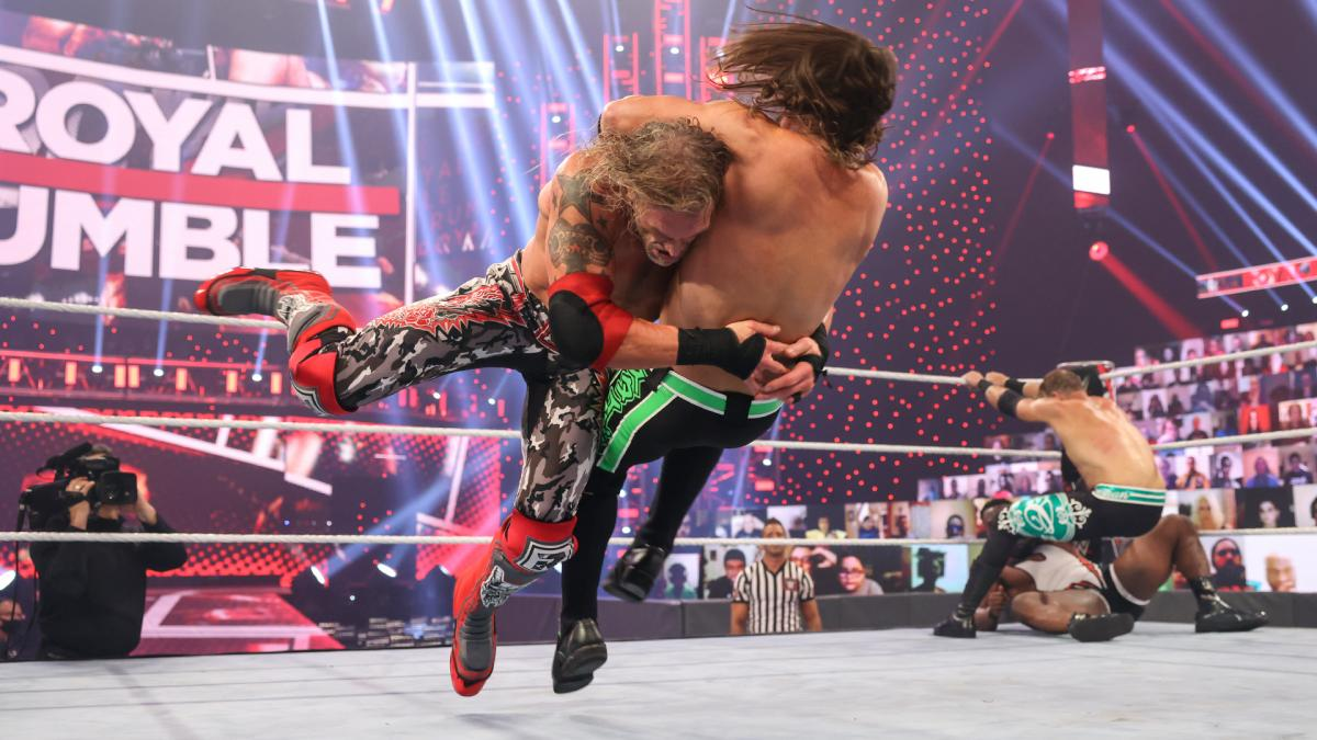 Edge and AJ Styles in WWE Royal Rumble 2021