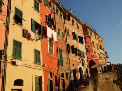 The tall colorful buildings of Riomaggiore