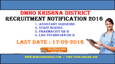 DMHO Krishna District Recruitment Notification 2016  70 Staff Nurse