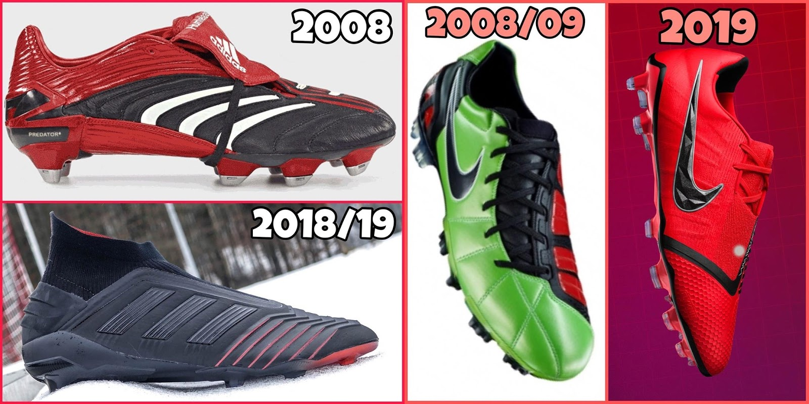 079407caaa5a Now German football boot influencer @fabianpecherhas shared the evolution  of four football boot silos from 2009 until 2019, including the iconic  Adidas ...