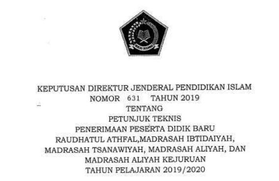 Juknis PPDB Madrasah Kemenag Tahun 2019/2020