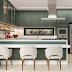 Cozinha branca e verde com marcenaria clássica e bancadas em nanoglass!