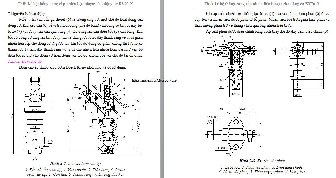 Thiết kế hệ thống cung cấp nhiên liệu biogas cho động cơ RV70-N