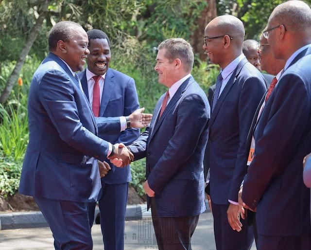 Uhuru Kenyatta arrives at Inaugural Inua Biashara Day