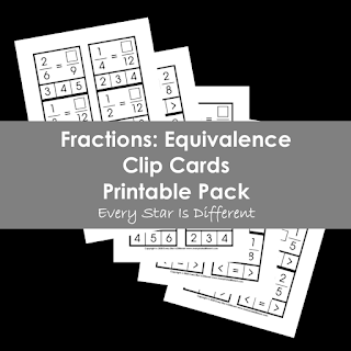 Fractions: Equivalence Clip Cards Printable Pack