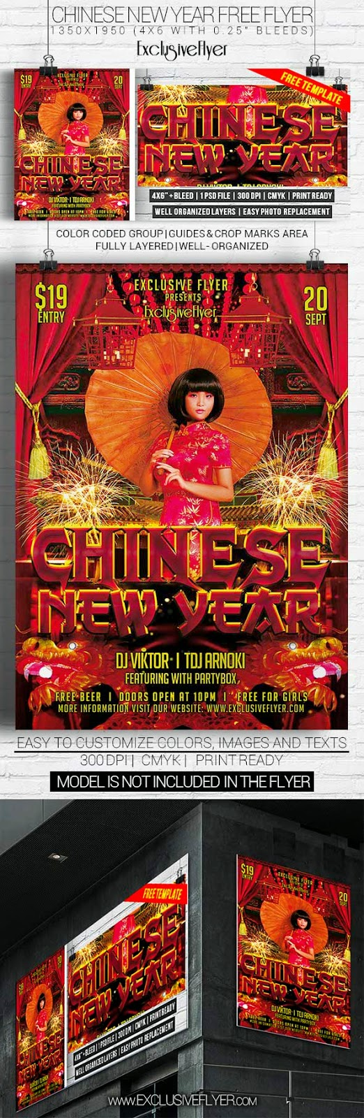 Chinese New Year Party Flyer PSD Template