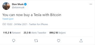elon musk bitcoin ile tesla satacak