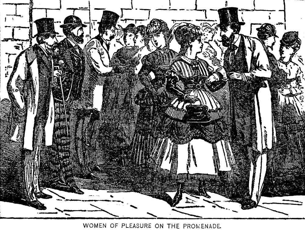1865 sex workers, an illustration, women of pleasure on the promenade
