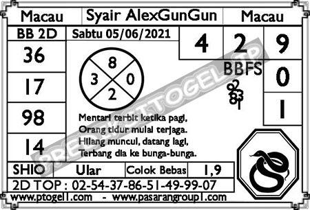 Syair Alexgungun Togel Macau Sabtu 05 Juni 2021