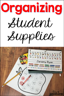 student classroom supplies, scissors, crayons, glue sticks how to organize them.  Do you use community supplies or personal boxes or pouches.