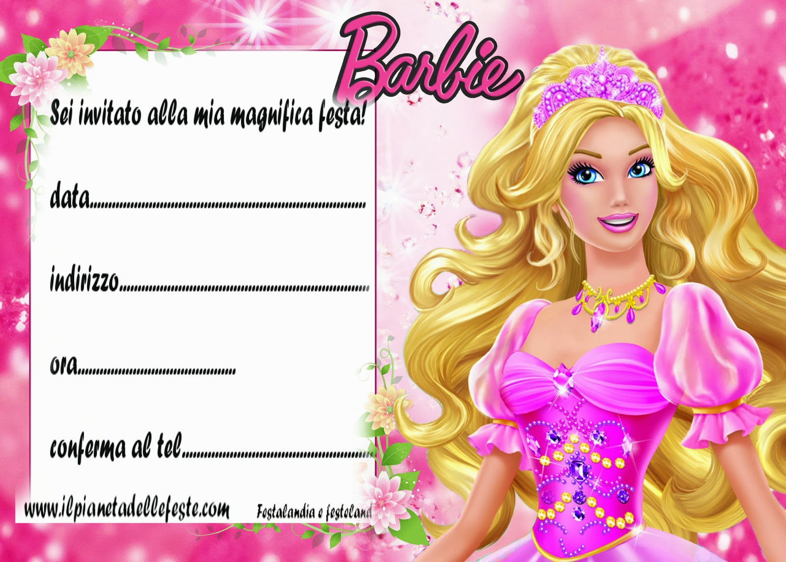 Molto Festalandia e Festeland: Barbie party. addobi,festoni e inviti  OR81
