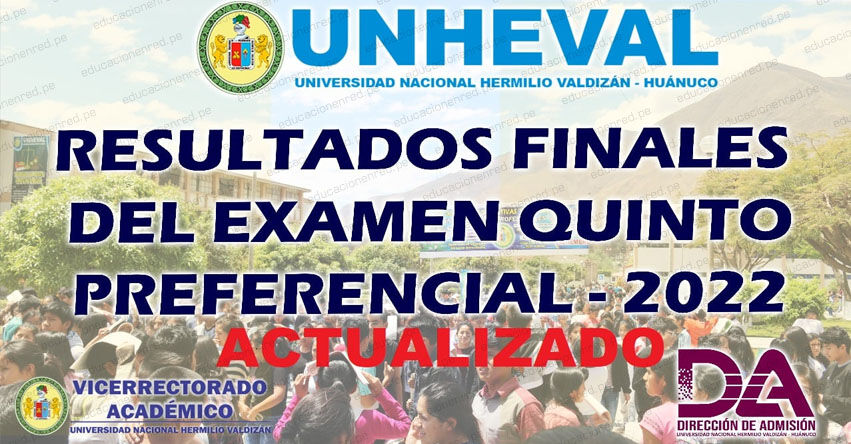 Resultados UNHEVAL 2022-1 (Sábado 4 Septiembre 2021) Lista Ingresantes - Examen Admisión Quinto Preferencial - Universidad Nacional Hermilio Valdizán - Huánuco - www.unheval.edu.pe