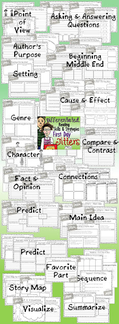 First Day Jitters Differentiated Reading Skills & Strategies Pack.