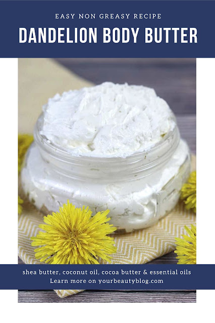 How to make whipped body butter with dandelion oil. Making a dandelion body butter lotion is easy at home. This recipe non greasy has coconut oil, shea butter, cocoa butter, and essenital oils. It uses lavender, frankincense, and copaiba essential oil for a home made body butter that's great for dry skin. Make a DIY body butter with natural ingredients. #diy #bodybutter #dandelion #sheabutter #essential oil