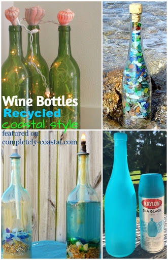 Wine Bottles Recycled into Coastal Decor