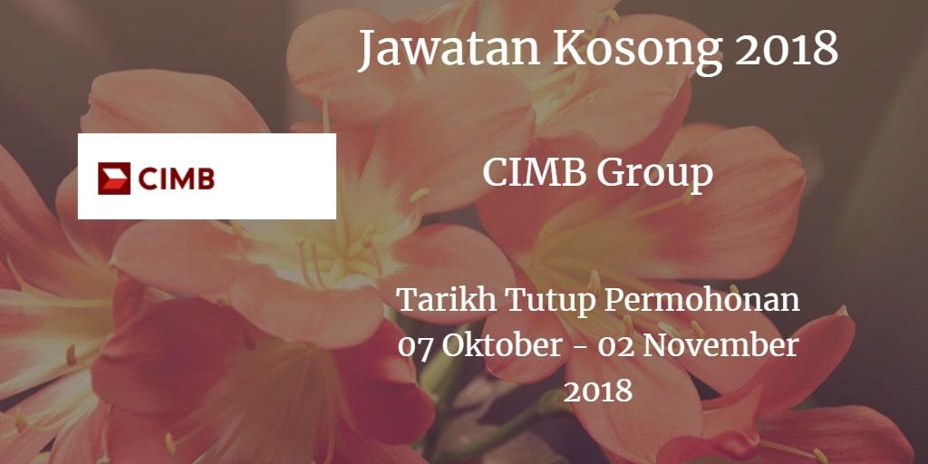 Jawatan Kosong CIMB Group 07 Oktober - 02 November 2018