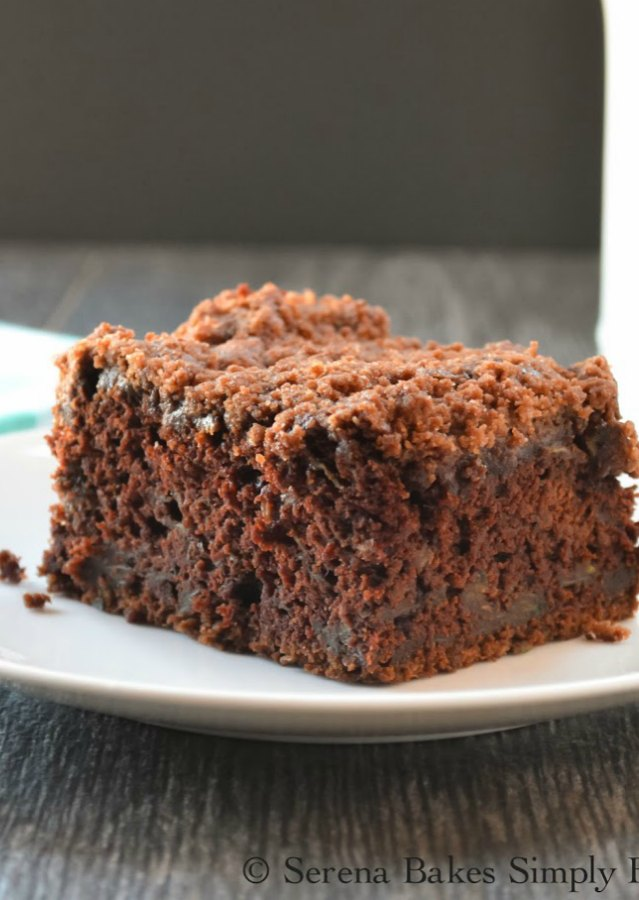 Chocolate Zucchini Coffeecake With Chocolate Crumb is the perfect dessert recipe to hide zucchini from Serena Bakes Simply From Scratch.
