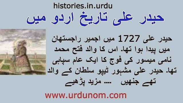 حیدر علی تاریخ اردو میں | Haider Ali History in Urdu