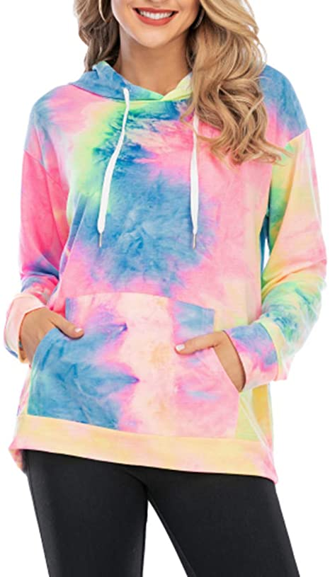 30%off  REVETRO Women Tie Dye Hoodie Sweatshirt