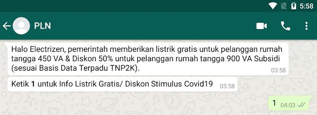 Cara Mendapatkan Token Gratis PLN 900 VA Via Whatsapp