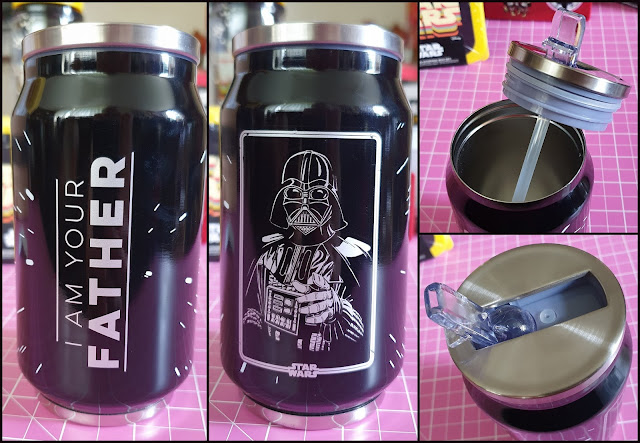 Collage of 4 photos. View of drinking spout, lid unscrewed and both sides of bottle. One has Darth Vader pointng, the other I Am Your Father text