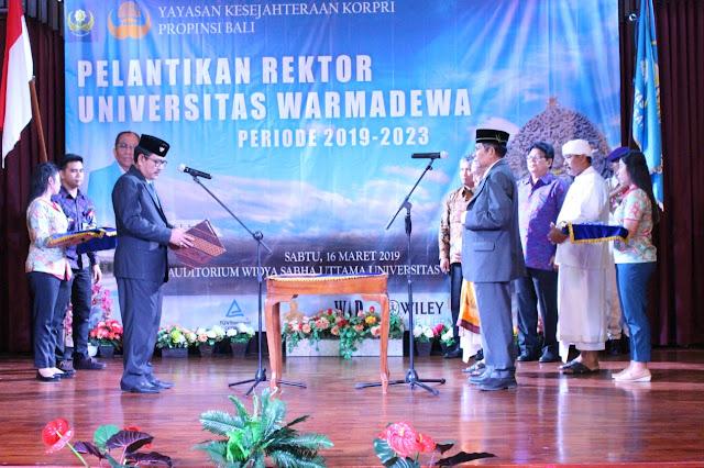 Hari ini Dilantik, Prof. Widjana Kembali  Jabat  Rektor Unwar Bali