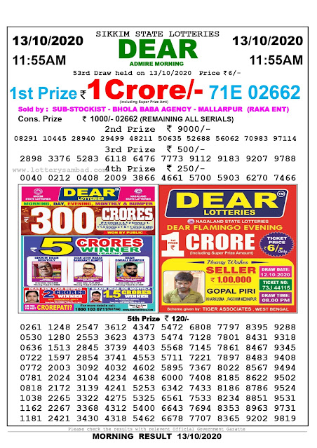 Sikkim State Lottery Result 13.10 2020, Sambad Lottery, Lottery Sambad Result 11 am, Lottery Sambad Today Result 11 55 am, Lottery Sambad Old Result