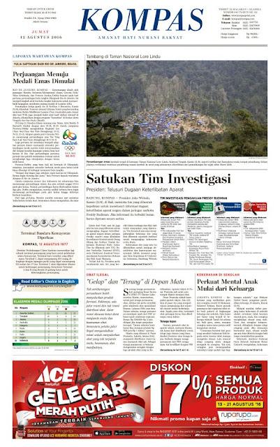Kompas Edisi Jumat 12 Agustus 2016