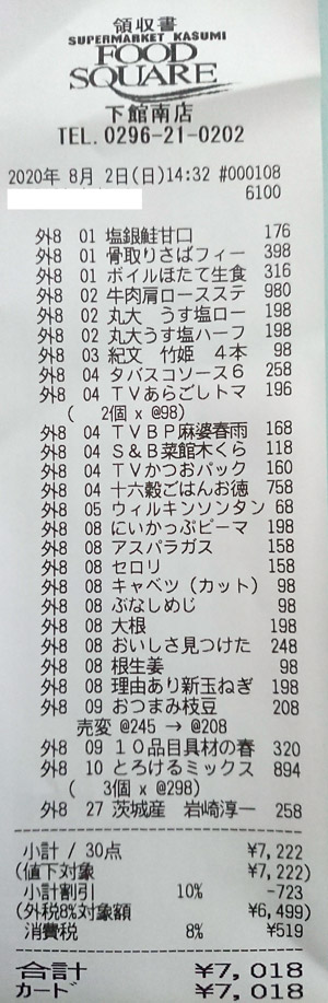 カスミ フードスクエア下館南店 2020/8/2 のレシート