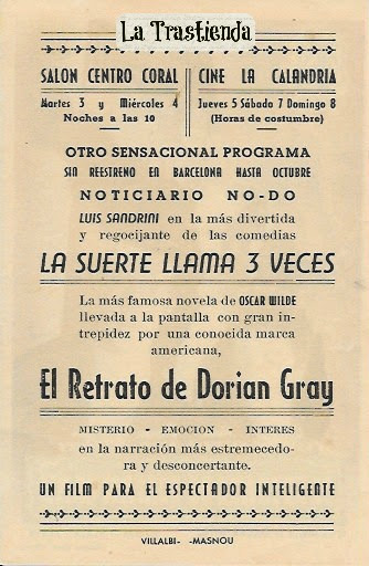 Programa de Cine - El Retrato de Dorian Gray - George Sanders - Donna Reed