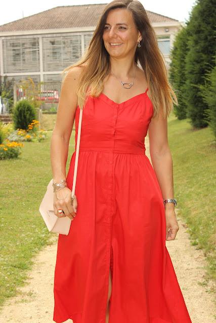 robe rouge Maje, look du jour, les petites bulles de ma vie