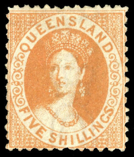 "Queensland 1880 Queen Victoria ""Chalon Head"" 5s yellow-ochre"