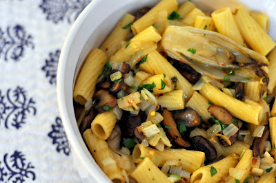 Rigatoni with Roasted Belgian Endive and Cremini Mushrooms | Taste As You Go