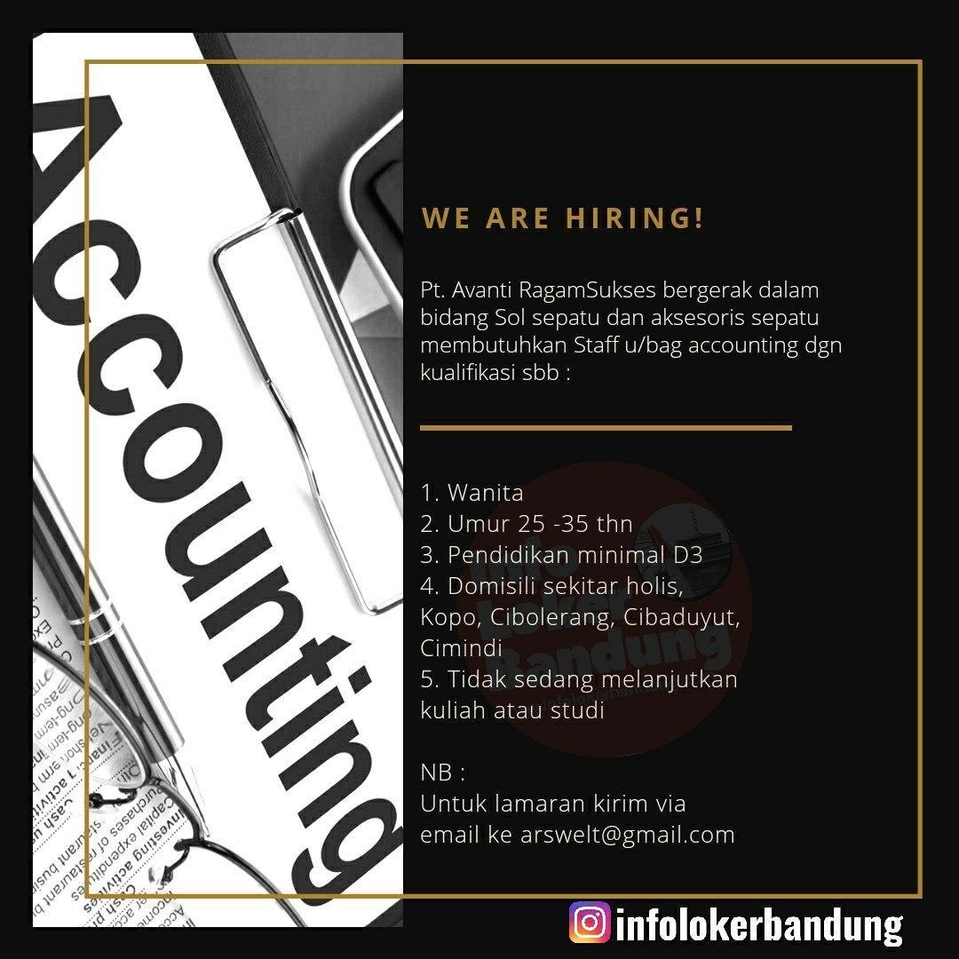 Lowongan Kerja Accounting PT. Avanti Ragam Sukses Bandung Februari 2020
