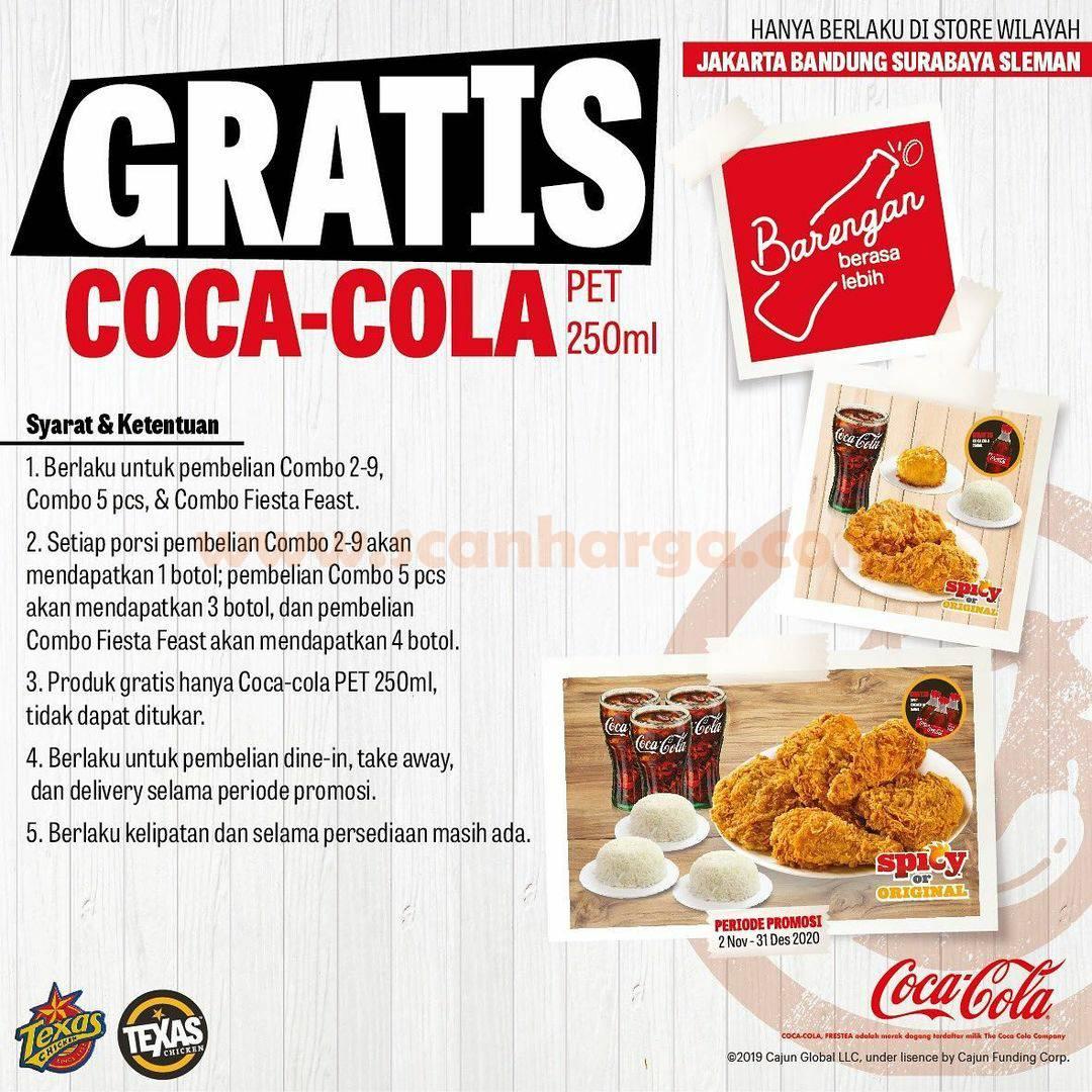 Texas Chicken Promo Gratis Coca Cola pet 250ml setiap pembelian menu Combo