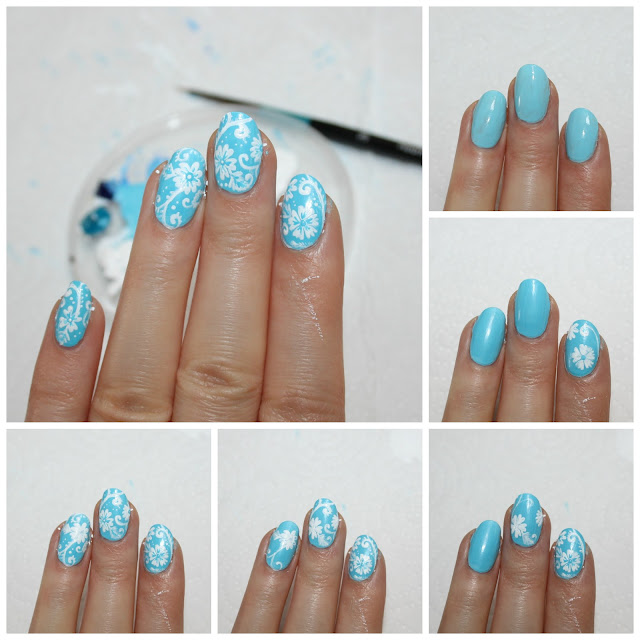 Blue And White Floral Pattern Nail Art