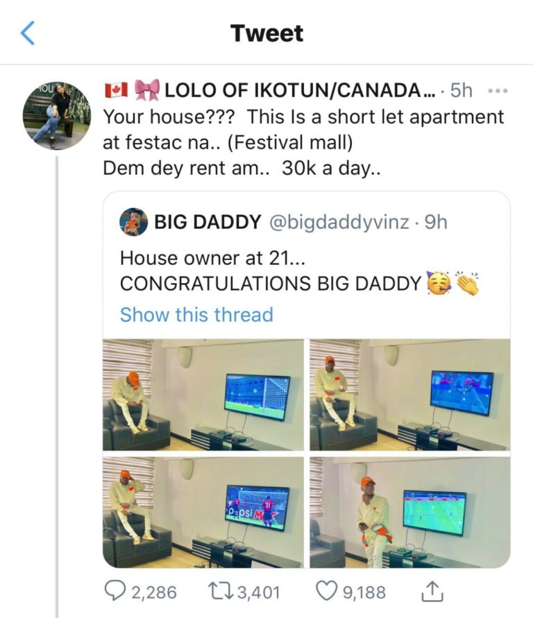 """Dem Dey Rent Am 30K A Day"" – Twitter Users Expose Man Who Claimed He Bought A House At 21 #Arewapublisize"