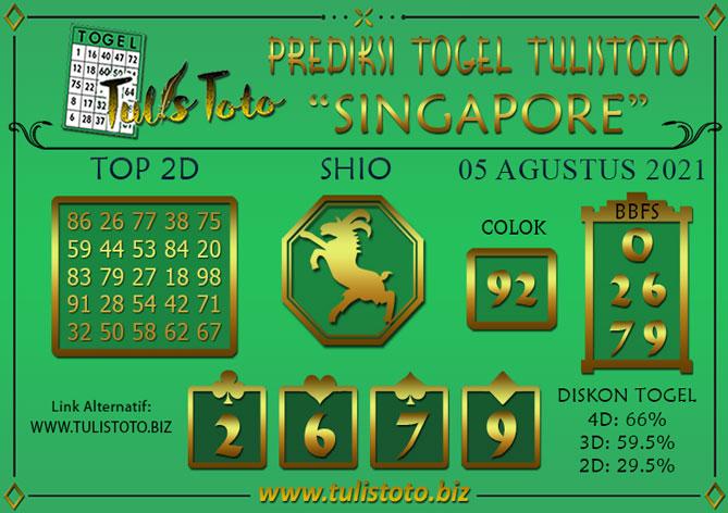 Prediksi Togel SINGAPORE TULISTOTO 05 AGUSTUS 2021
