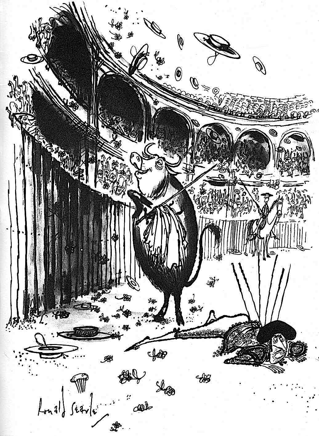 Ronald Searle, a bull victorious over a matador, receives flowers in the ring