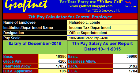 Updated 7th Pay Calculator for CG Employees as per 7th Pay Report