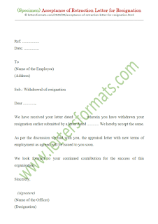 acceptance of withdrawal of resignation letter from employer sample