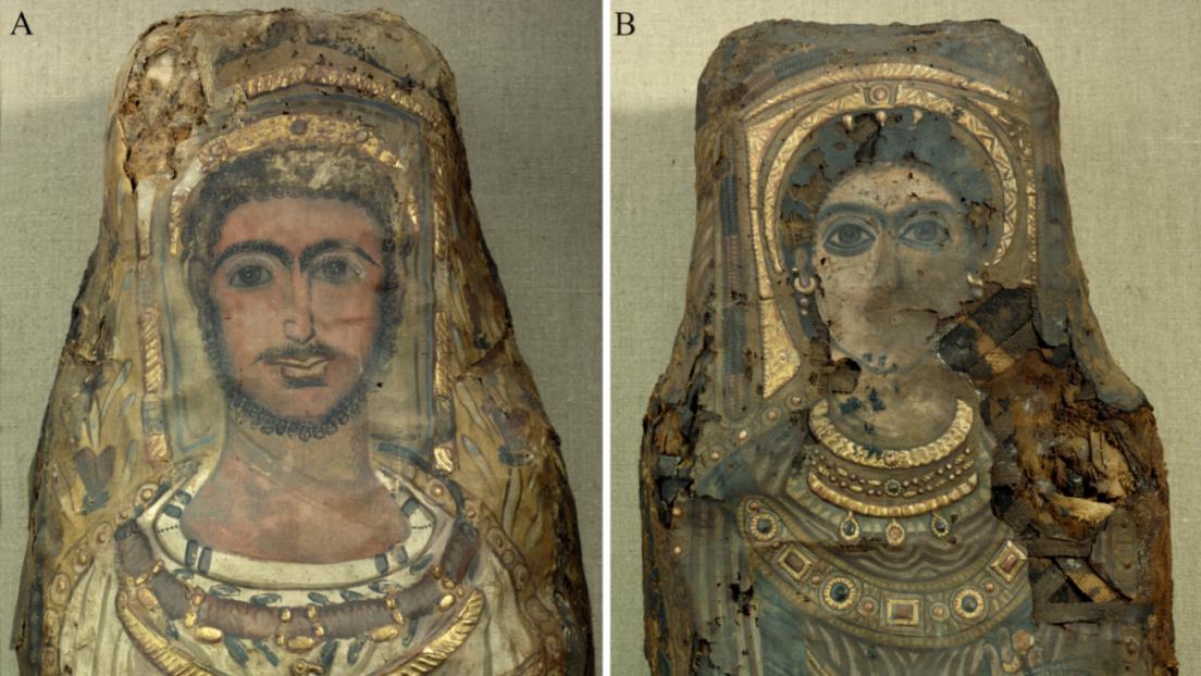 Vista detallada de los retratos de las momias con las joyas presentes en las mortajas. Colección de Esculturas, Colecciones de Arte del Estado de Dresde/H.-P. Klut / E. Estel/CC BY 4.0