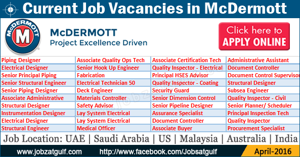Current Job Vacancies in McDermott - UAE | Saudi Arabia ...