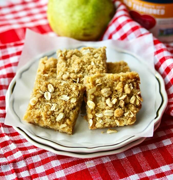 Oatmeal Pear Bars stacked on a plate